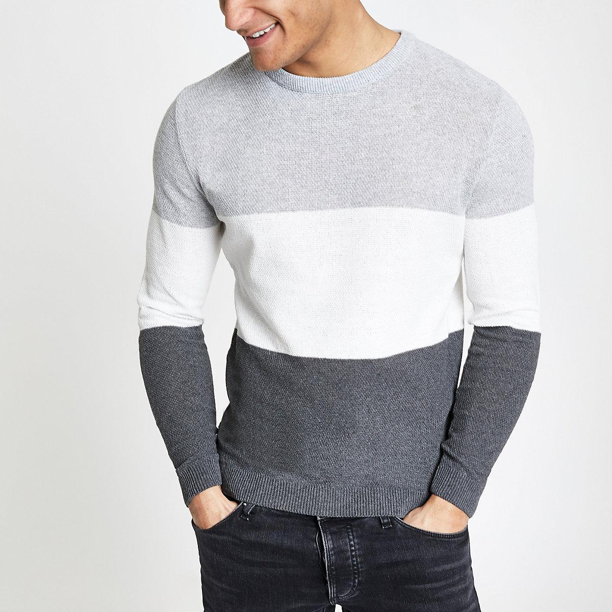 Grey block muscle fit knit jumper