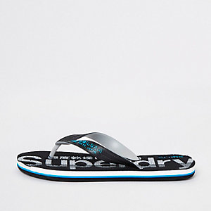 Superdry black flip flops