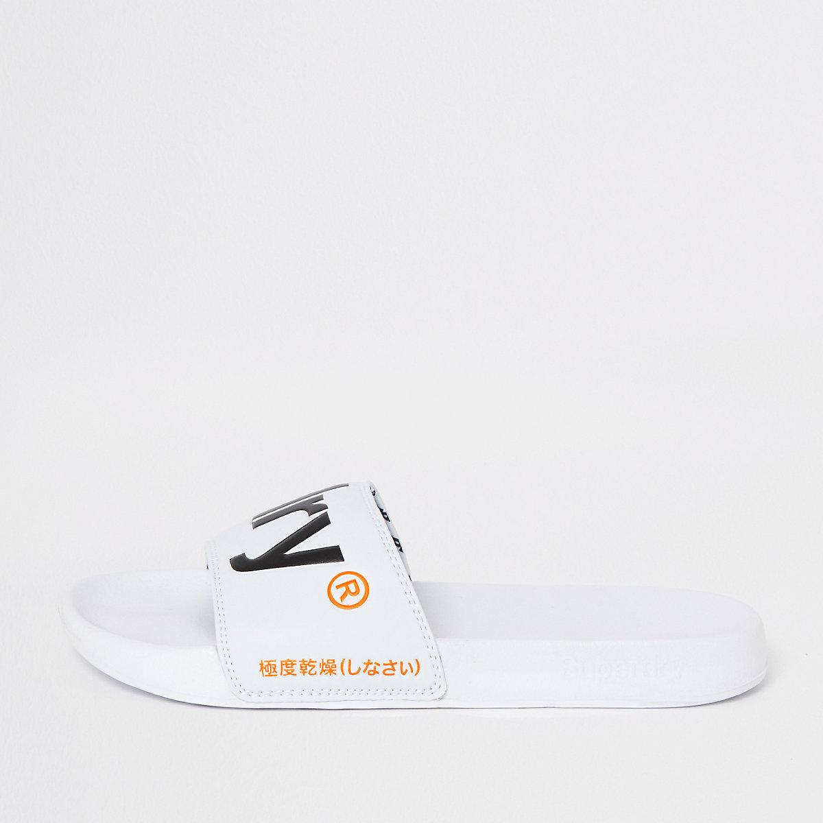 Superdry white sliders