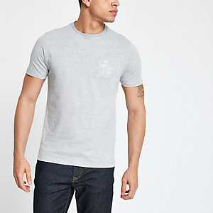 T-shirt slim gris avec inscription « Prolific » brodée