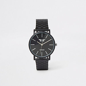 Schwarze, schmale Uhr mit Kettengelenkarmband