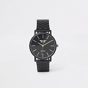 Zwart smal horloge met kettingband