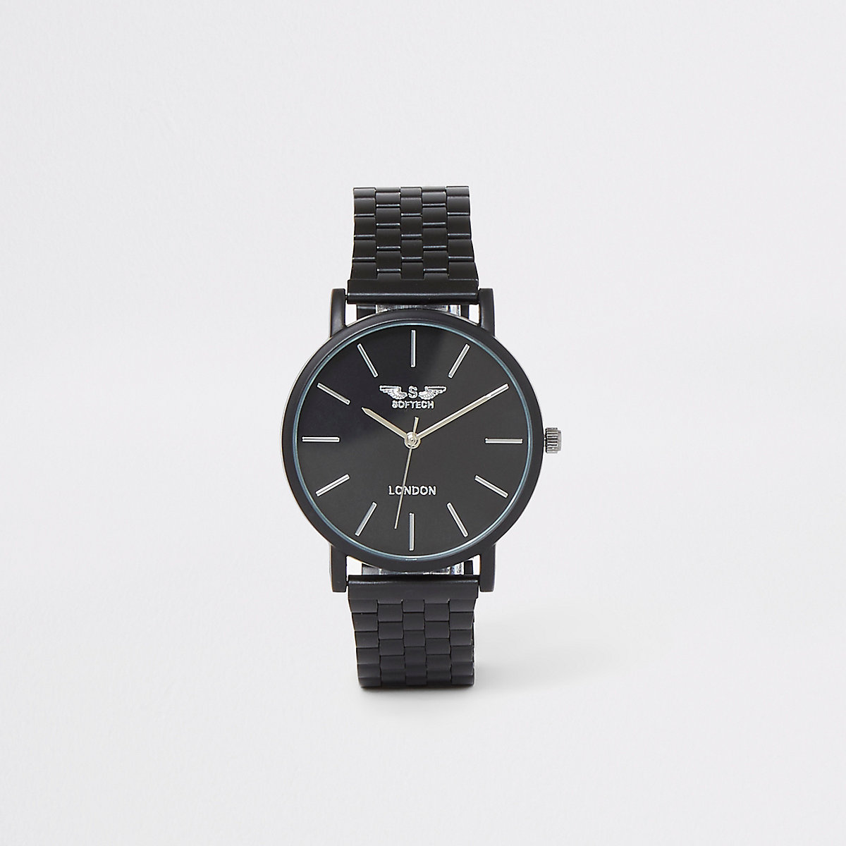 Black slim chain link watch
