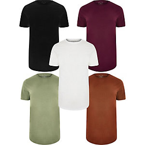 Multicoloured long line T-shirt 5 pack