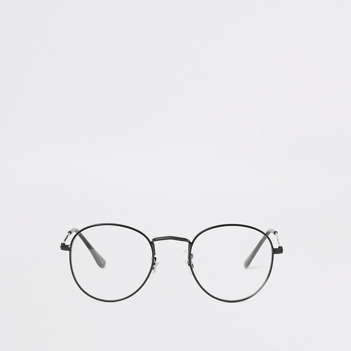 Black round clear lens glasses