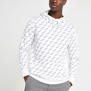 White slim fit 'Prolific' monogram hoodie