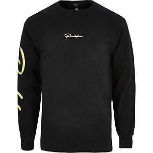 Zwart T-shirt met 'Prolific'-print en lange mouwen