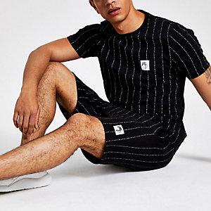 T-shirt slim « Maison Riviera » rayé noir