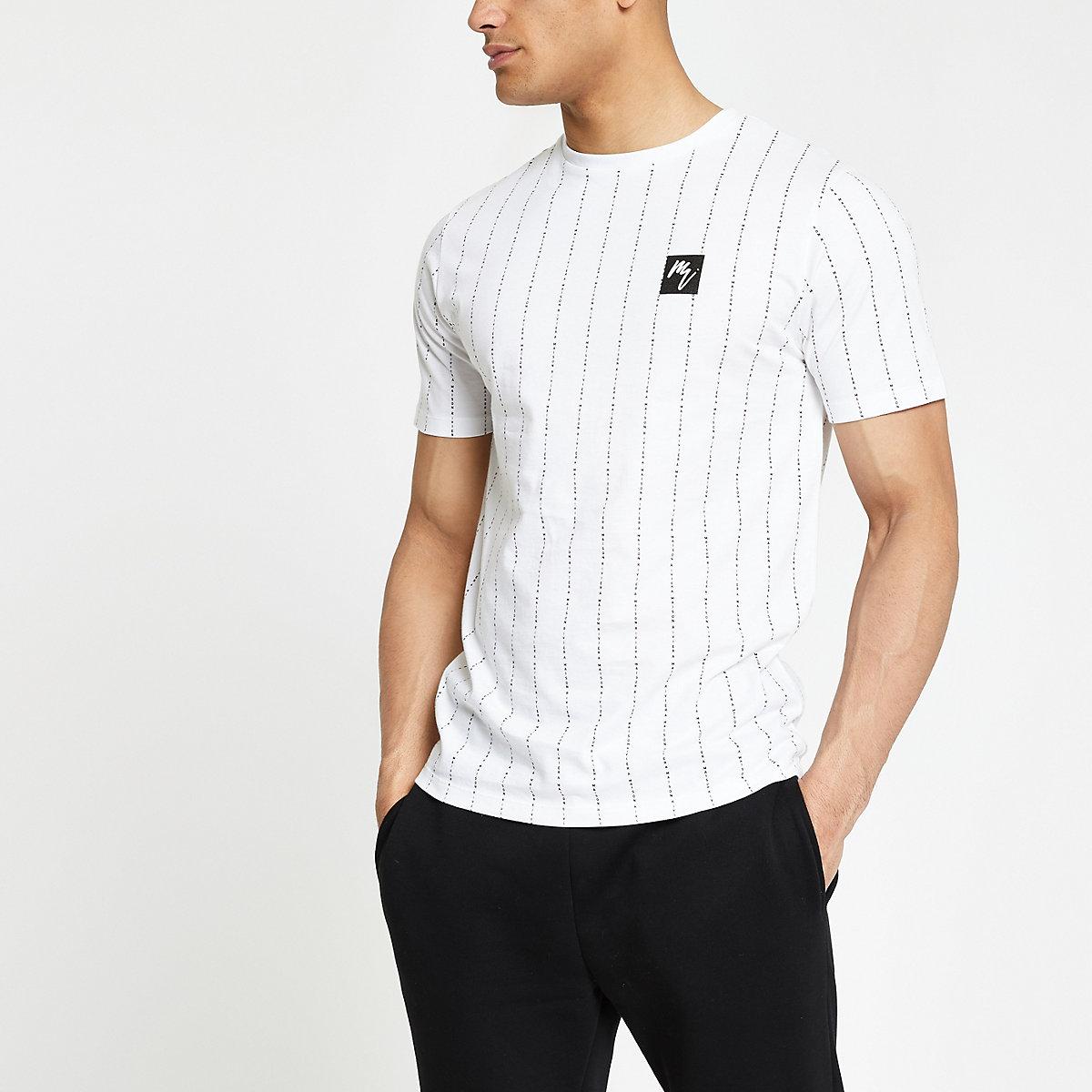White 'Maison Riviera' stripe slim T-shirt