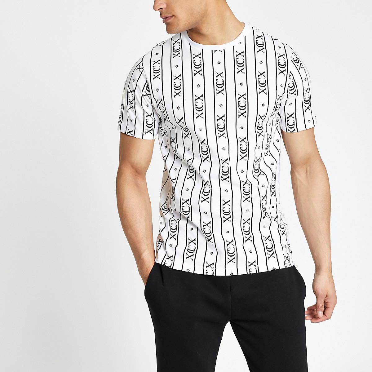 White 'XCX' stripe slim fit T-shirt