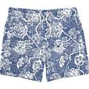 Boys blue floral sketch swim trunks
