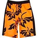 Boys fluro orange print board shorts