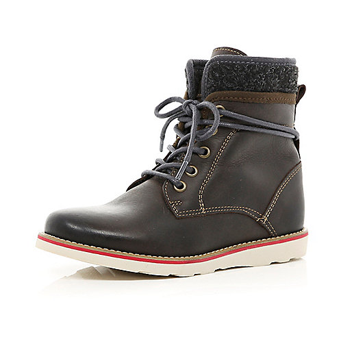 Boys brown lace up worker boots