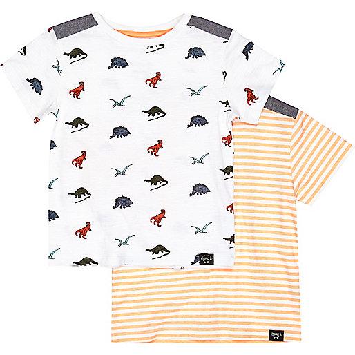 Mini boys dino and orange t-shirt 2 pack