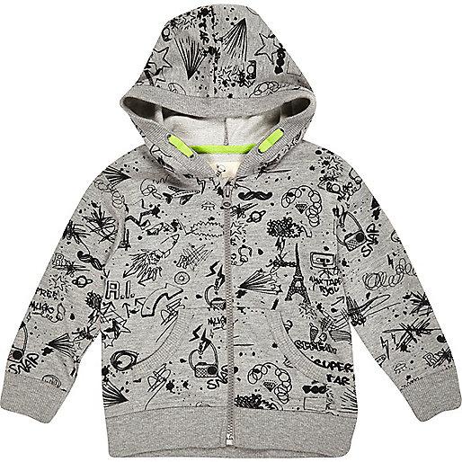 Mini boys grey doodle hoody
