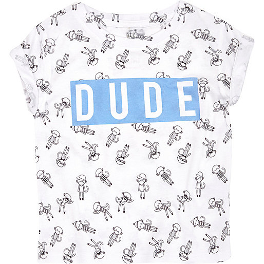 Mini boys white dude monkey print t-shirt