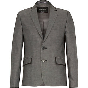 Boys grey herringbone suit blazer