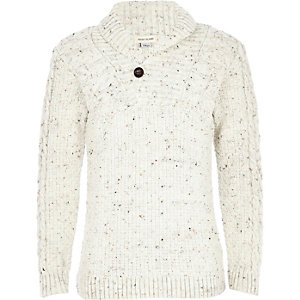 Boys cream flecked knitted sweater