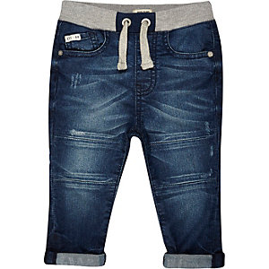 Mini boys blue denim jogger jeans