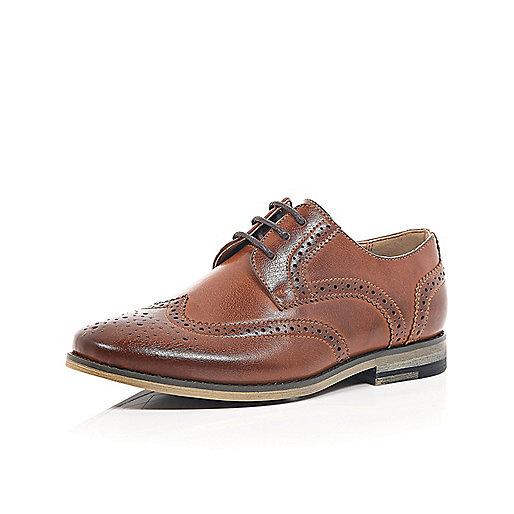 Boys brown smart brogues - shoes - footwear - boys