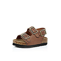 Mini boys brown double strap flat bed sandals