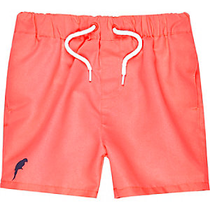 Mini boys pink swim trunks
