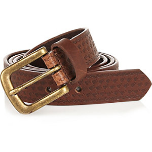 Boys brown embossed leather belt