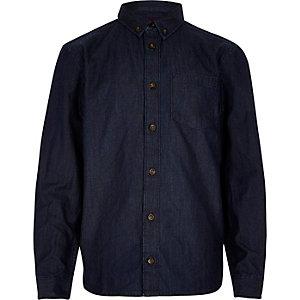 Boys blue denim long sleeve shirt