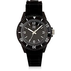 Boys black rubber sporty watch