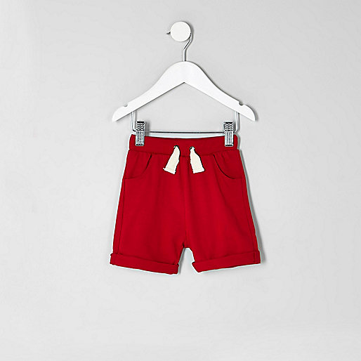 Mini boys red jersey shorts