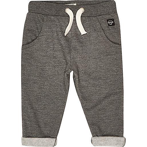 Pantalon de jogging gris à revers mini garçon