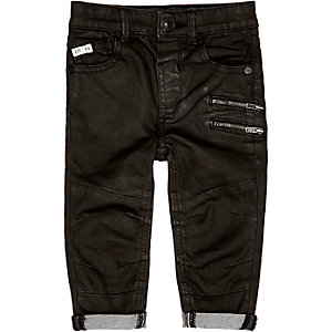 Mini boys black coated zip skinny jeans
