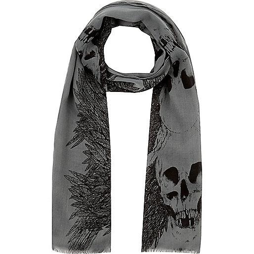 Boys khaki skull and feather scarf