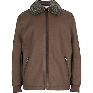 Boys brown leather-look coach jacket
