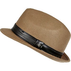 Boys camel brown trilby hat