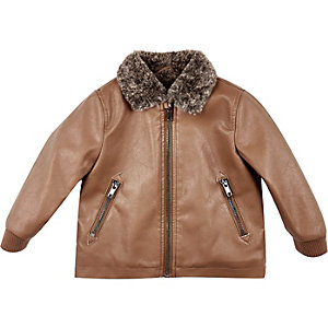 Mini boys brown leather-look coach jacket