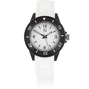 Weiße sportliche Kunststoffuhr