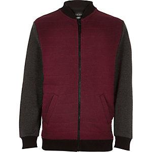 Boys dark red contrast sleeve bomber jacket