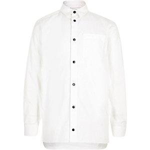 Boys white popper shirt