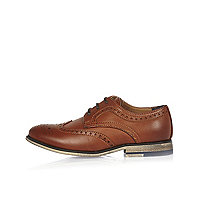 Boys brown smart color block heel brogues