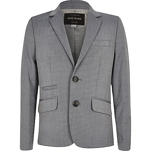 Boys light grey slim suit jacket