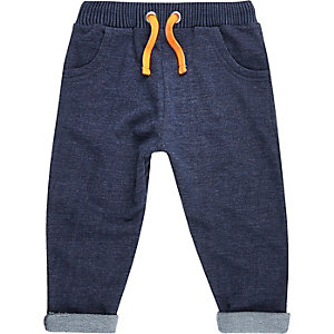 Mini boys blue denim joggers