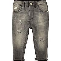 Mini boys grey wash distressed jeans