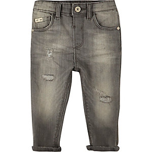 Mini boys grey wash distressed jeans