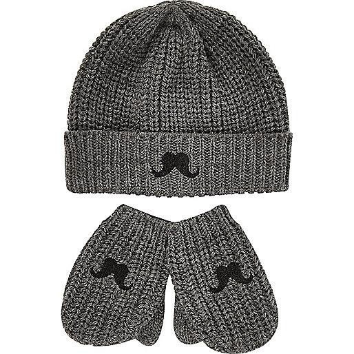 Mini boys grey moustache hat mittens set