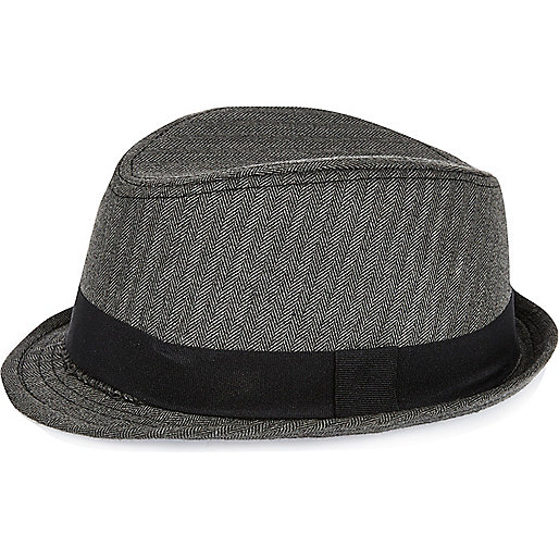 Mini boys black herringbone trilby hat