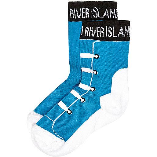 Mini boys blue trainer socks