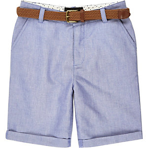 Boys blue belted Oxford shorts