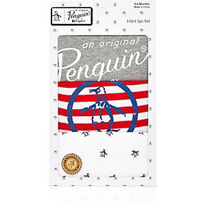 Coffret cadeau grenouillère rayée motif pingouin
