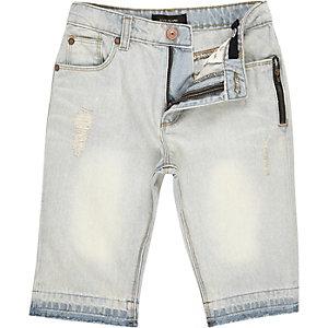 Boys faded distressed raw hem denim shorts